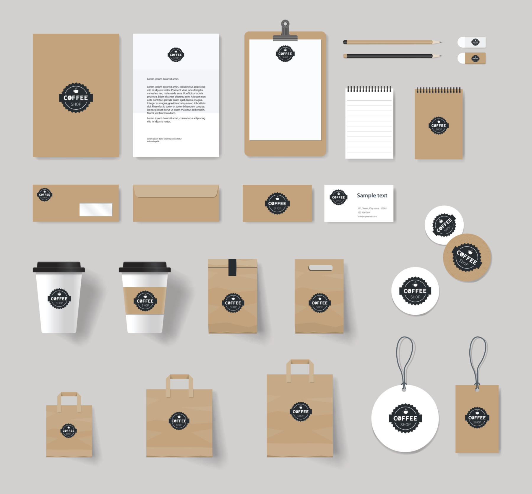 branding identity mock up template for coffee shop and