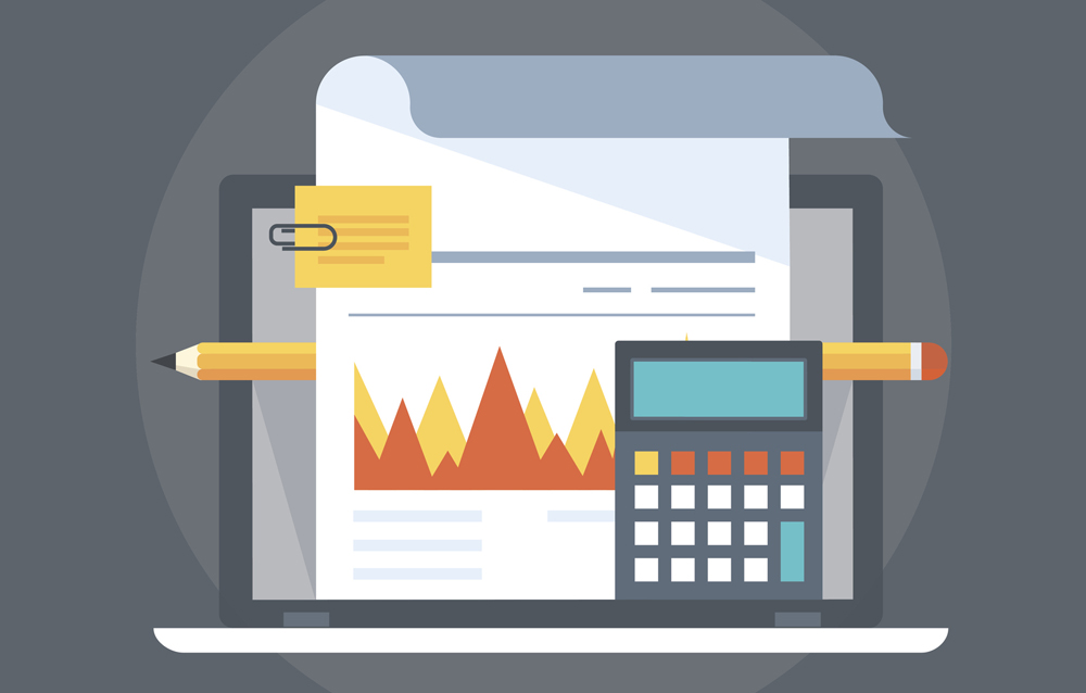 Accounting flat style, colorful, vector icon for info graphics, websites, mobile and print media.